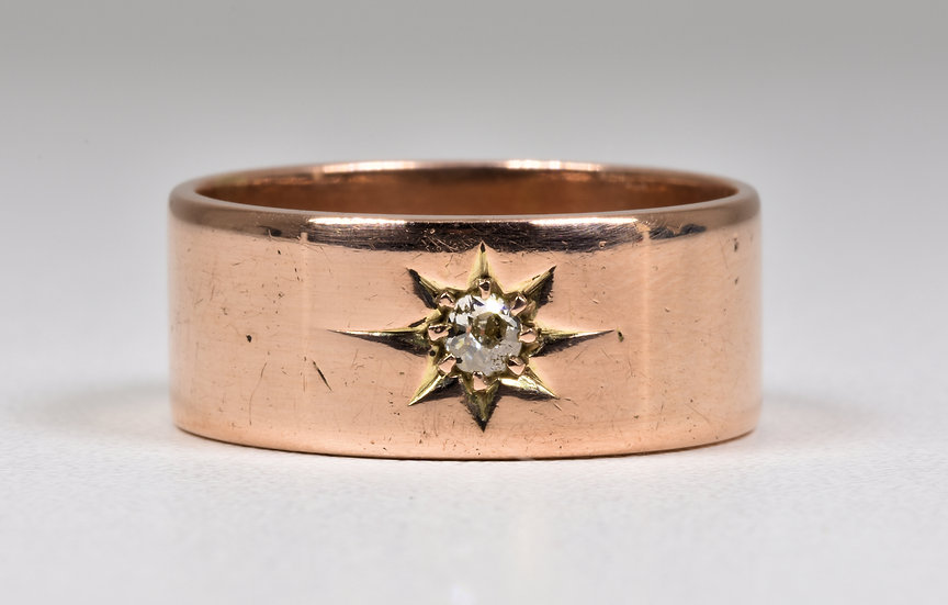 Antique George V 9ct Rose Gold Diamond Solitaire Ring, (Birmingham,1912)