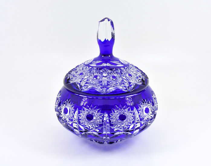 Vintage Bohemian Czech Crystal Lidded Candy Dish, Flash Cut,Cobalt Blue