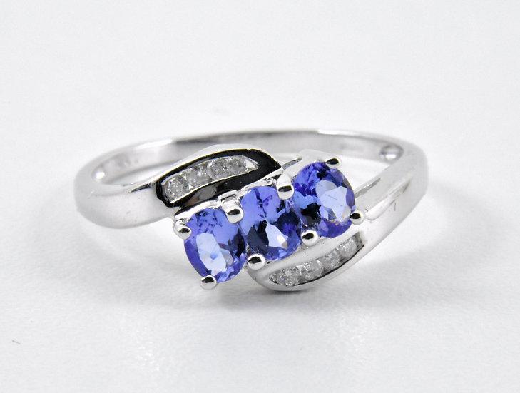 Ladies 9ct White Gold Diamond & Tanzanite Ring, UK Size P, U.S. Size 7 3/4
