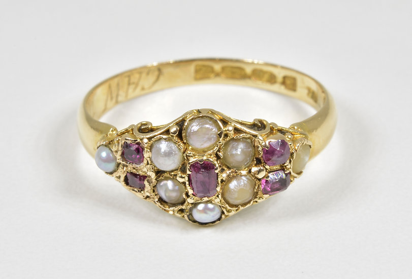 Antique Georgian 18ct Gold Ruby & Seed Pearl Ring, (Birmingham 1821)