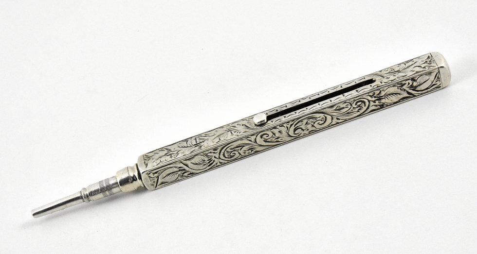 Antique Victorian Solid Silver Square Propelling Pencil, c1900