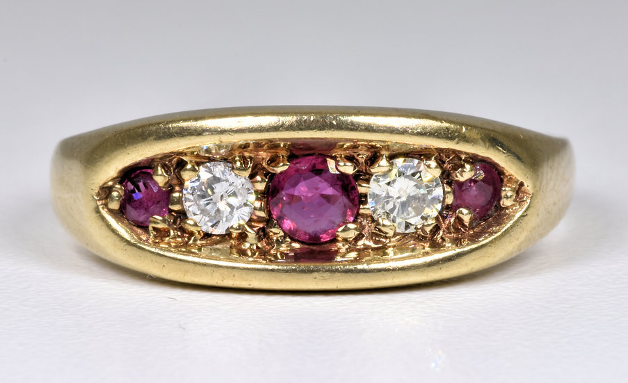 Vintage 9ct Gold Ruby & Diamond Boat Ring, (London,1985)