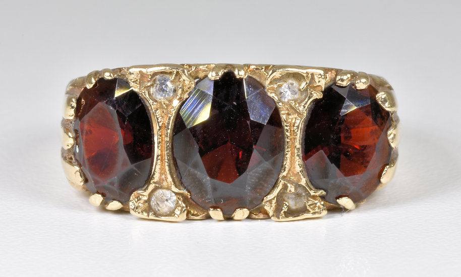 Vintage Mens 9ct Gold Garnet & Diamond Gypsy Ring, 1974