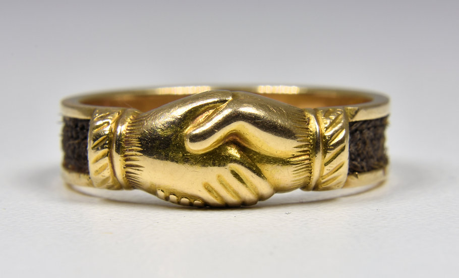 Rare Antique 15ct Gold Victorian Fede Mourning Ring, (1878)