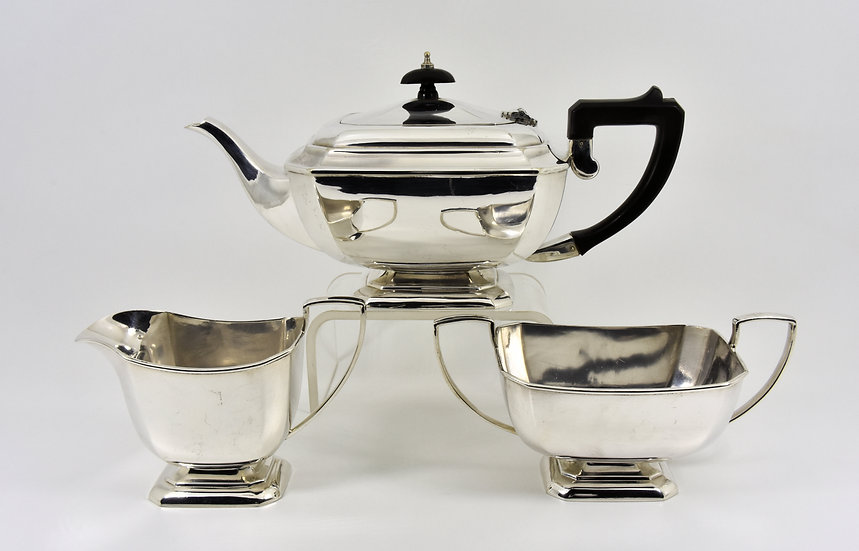 Antique Art Deco Silver Plated 3 Piece Tea Set (F H Adams & Holman, c1935)