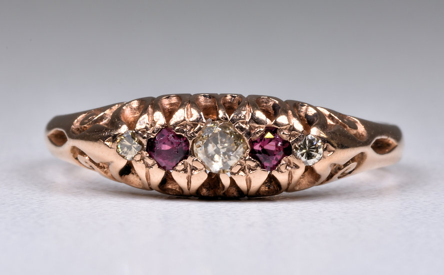 Vintage 9ct Rose Gold Diamond & Ruby Ring, (Birmingham,1998)