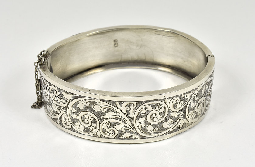 Antique Victorian English Solid Silver Hinged Bracelet, (Birmingham, 1885)