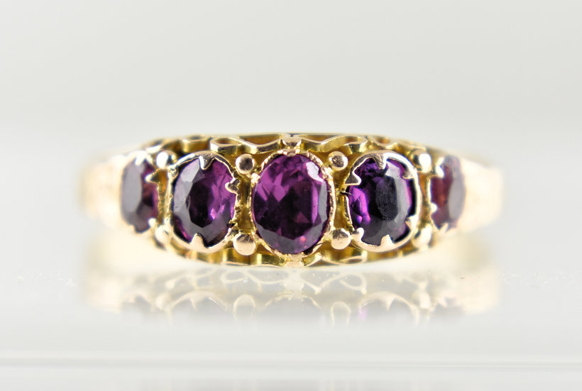 Antique Victorian 15ct Gold 5 Stone Amethyst Ring, 1868