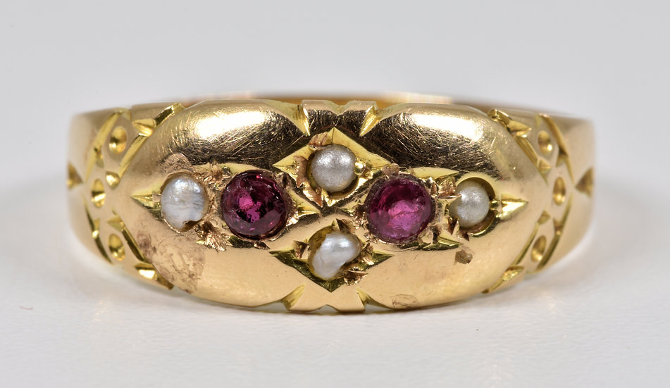 Antique Victorian 15ct Gold Ruby & Seed Pearl Gypsy Ring, (c1880)