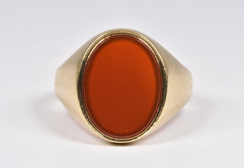 Vintage 9ct Gold Carnelian Ring, (Birmingham,1978)