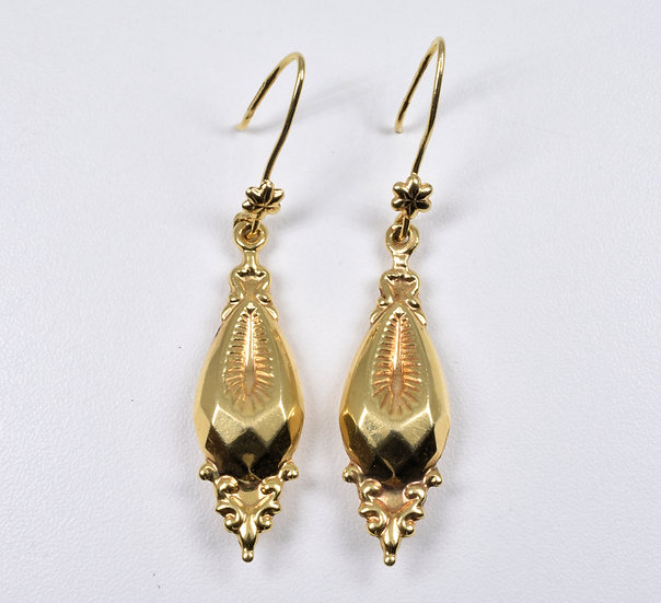 Vintage Victorian Style Hollow 9ct Gold Drop Earrings, 1989