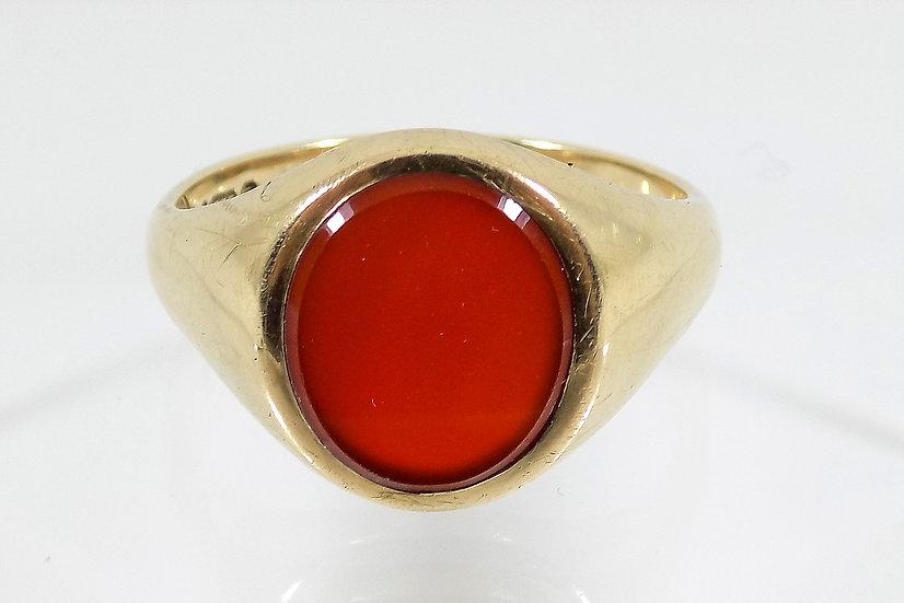 Vintage 9ct Gold Carnelian Ring,1888, UK Size W, U.S. Size 11 1/4