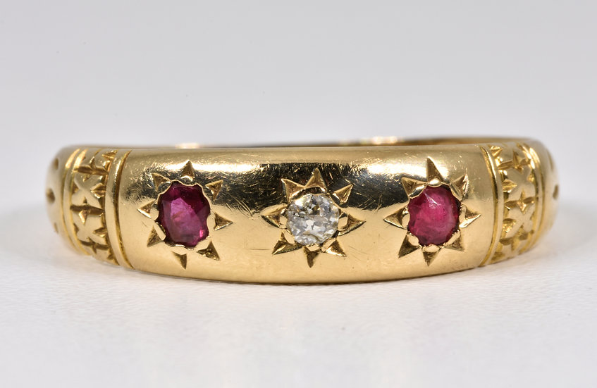 Antique Victorian 18ct Gold Ruby & Diamond Gypsy Ring, (London, 1896)