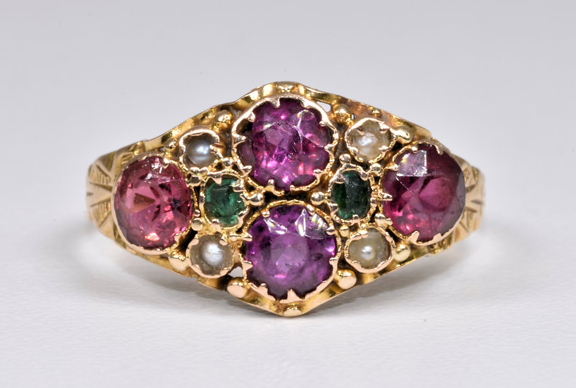 Antique Early Victorian 18ct Gold Almandine Garnet, Emerald & Pearl Ring, c1845