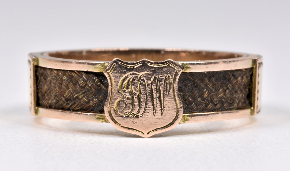 Antique Victorian 9ct Gold Plaited Hair Mourning Ring, c1880
