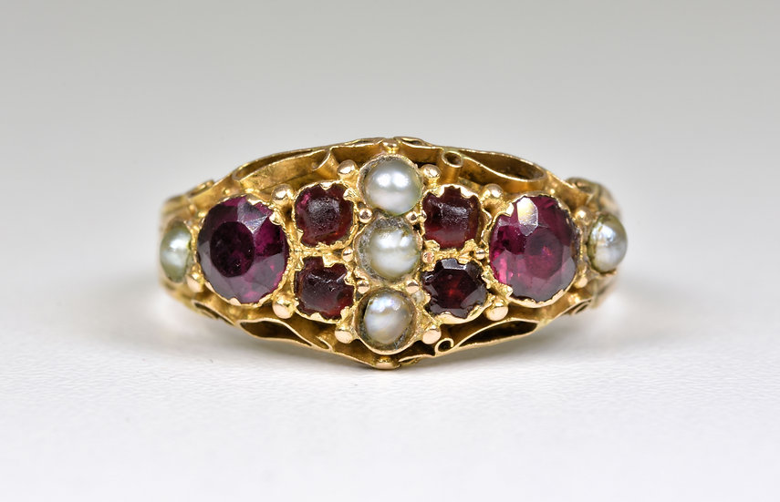 Antique Victorian 15ct Gold Almandine Garnet & Seed Pearl Ring, Chester,1884