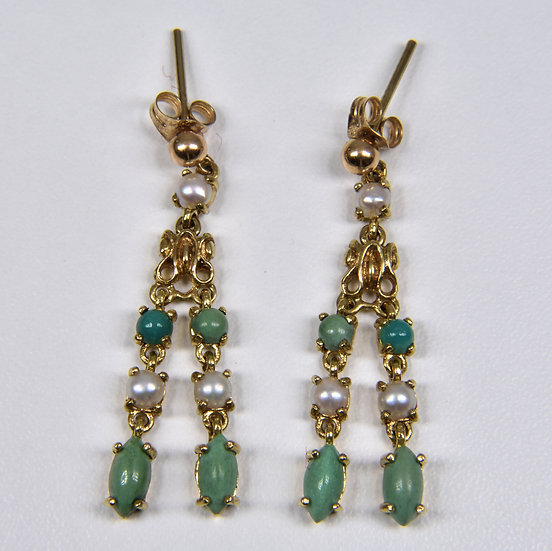 Antique Edwardian 14ct Gold Turquoise & Pearl Tassel Earrings, c1905