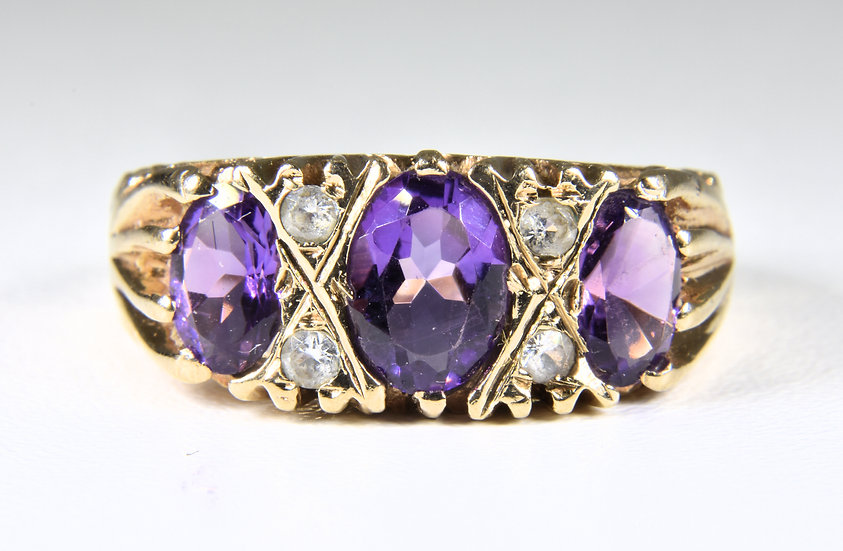 Vintage 9ct Gold Amethyst & Diamond Ring, (Birmingham,1978)