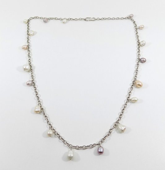 Vintage Sterling Silver & Baroque Pearl Necklace
