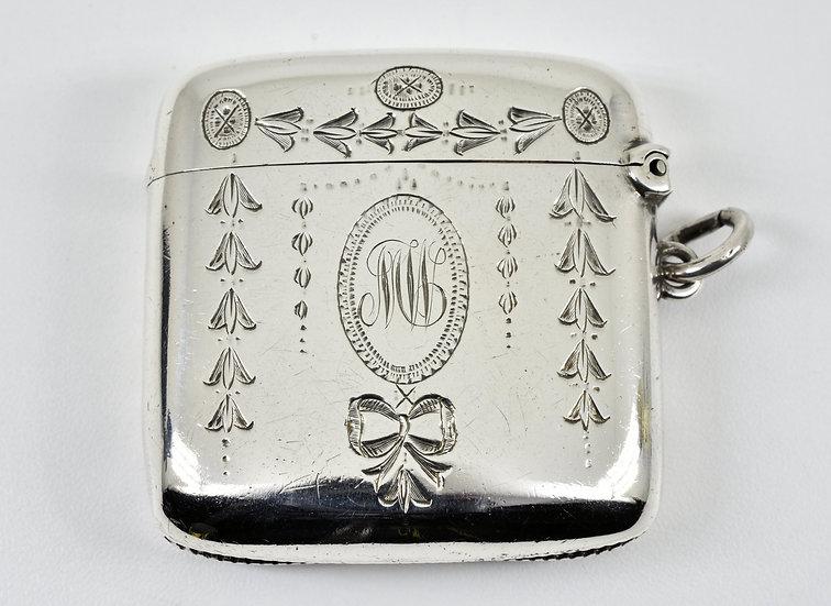 Antique English Edwardian Solid Silver Vesta Case, (George Unite & Sons, 1909)