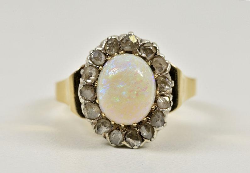 Antique Victorian 18ct Gold Fire Opal & Diamond Ring, c1880