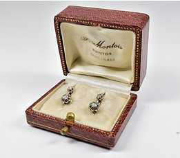 Antique Victorian French 18ct Gold Diamond Drop Earrings, c1880, Original Case