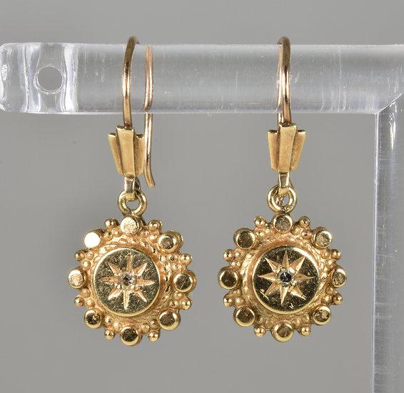 Antique Victorian 9ct Gold Diamond Child's Earrings, C1880