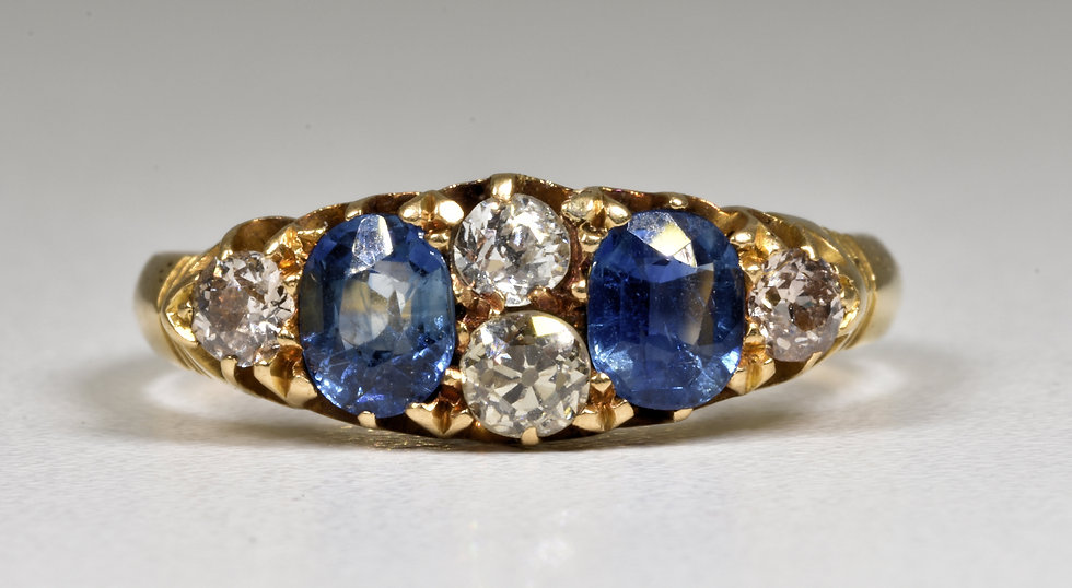 Antique Victorian 18ct Gold Sapphire & Diamond Ring, (Chester,c1880)