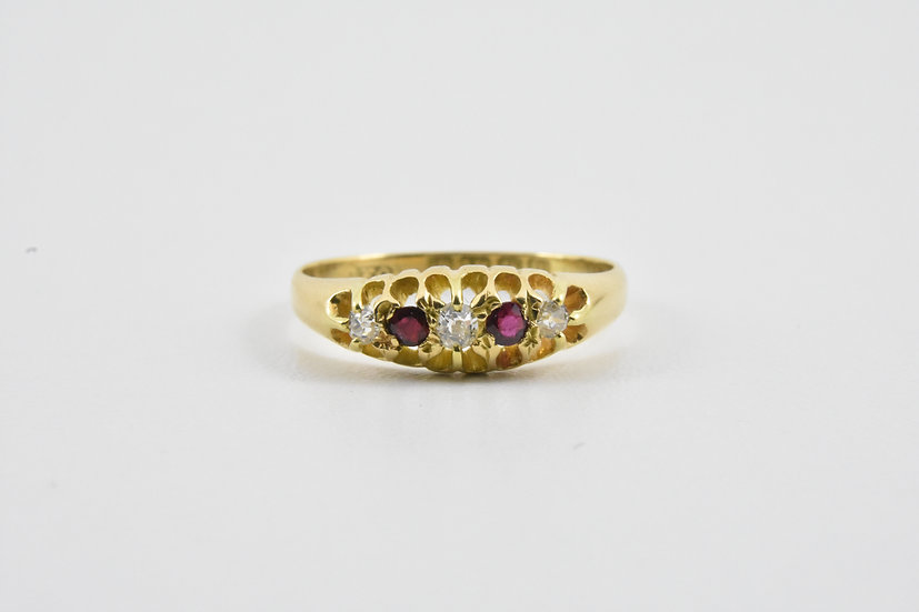 Antique 18ct Gold Ruby & Diamond Ring, 1915