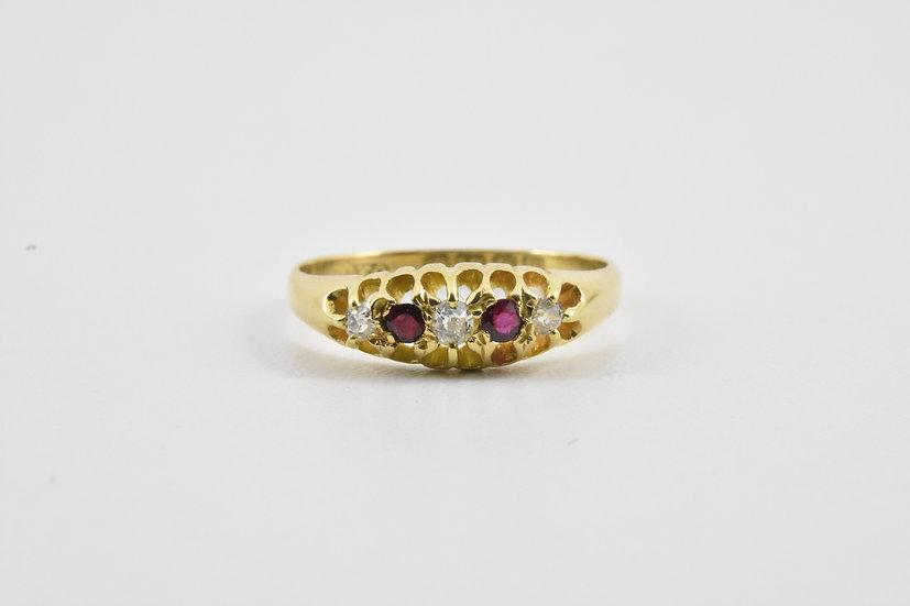 Antique 18ct Gold Ruby & Diamond Ring, 1915
