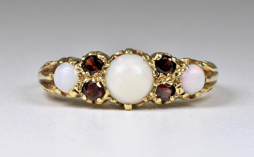 Vintage 9ct Gold Garnet & Fire Opal Ring, (London,1963)