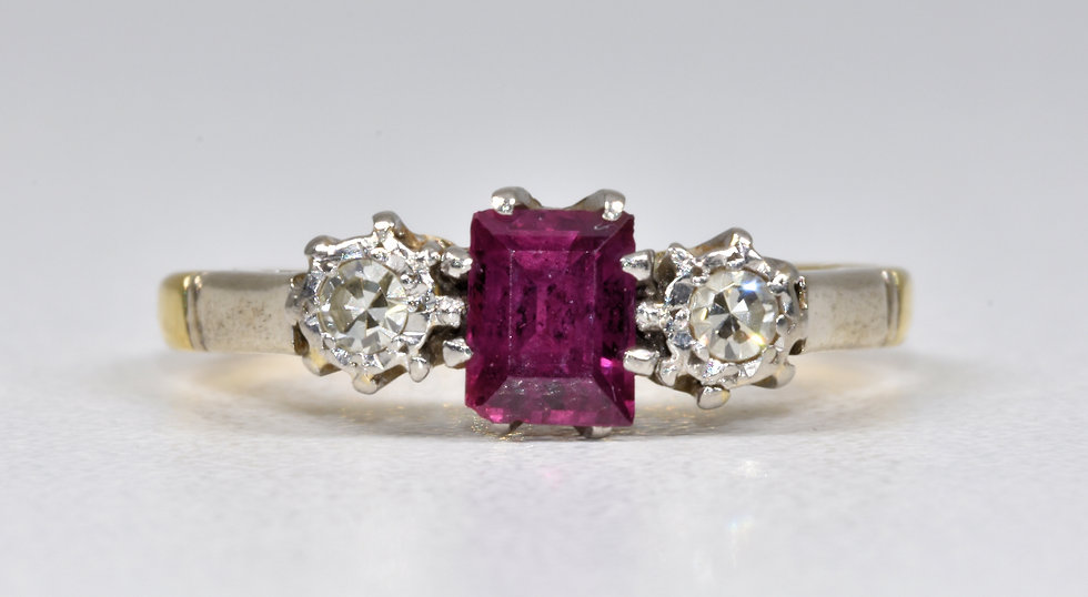 Antique Art Deco 18ct Gold & Platinum Ruby Diamond 3 Stone Ring, 1930's