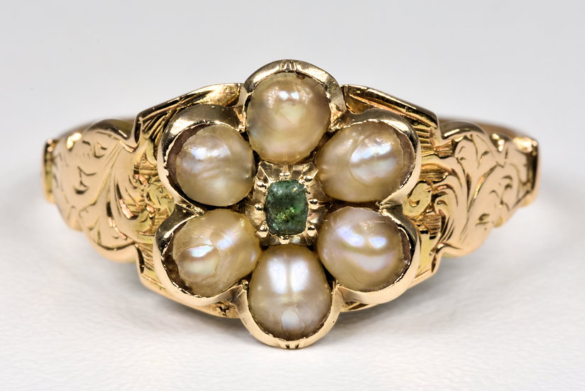 Antique Georgian 18ct Gold Emerald & Pearl Forget Me Not Memorial Ring, c1820