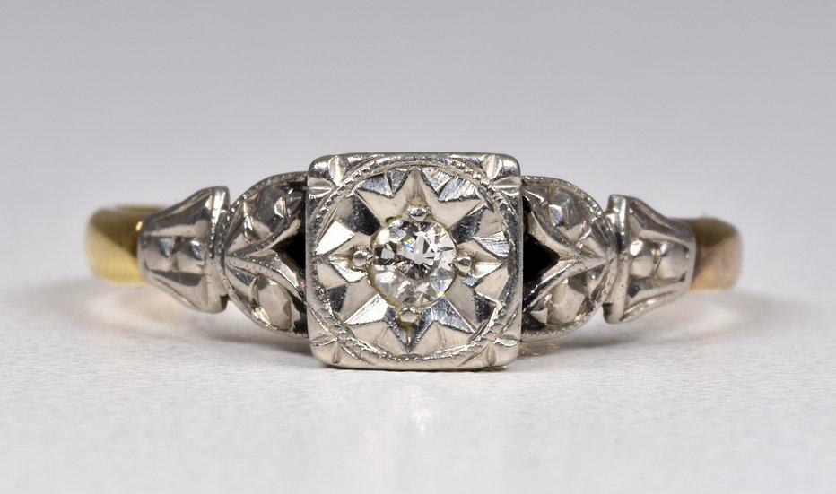 Antique Art Deco 18ct Gold & Platinum Diamond Ring, (1930's)