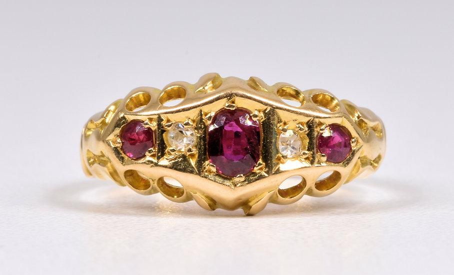 Antique 18ct Gold Ruby & Diamond Gypsy Ring, (Birmingham,1938)