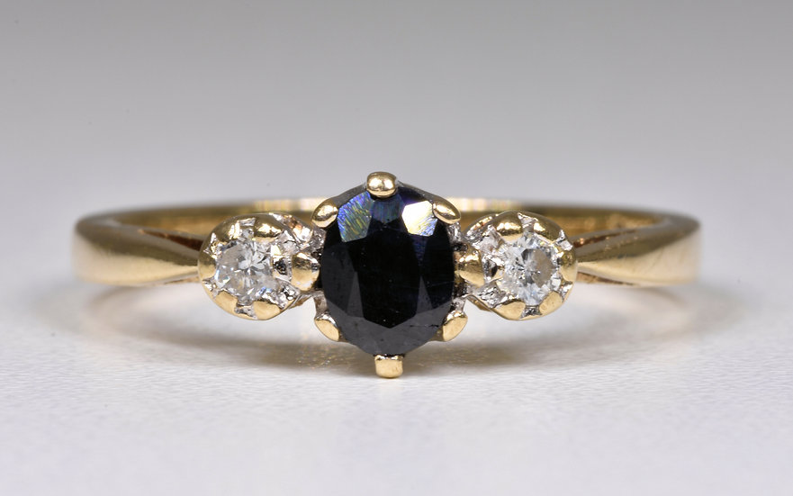 Vintage 9ct Gold Sapphire & Diamond 3 Stone Ring, (London, 1980's)