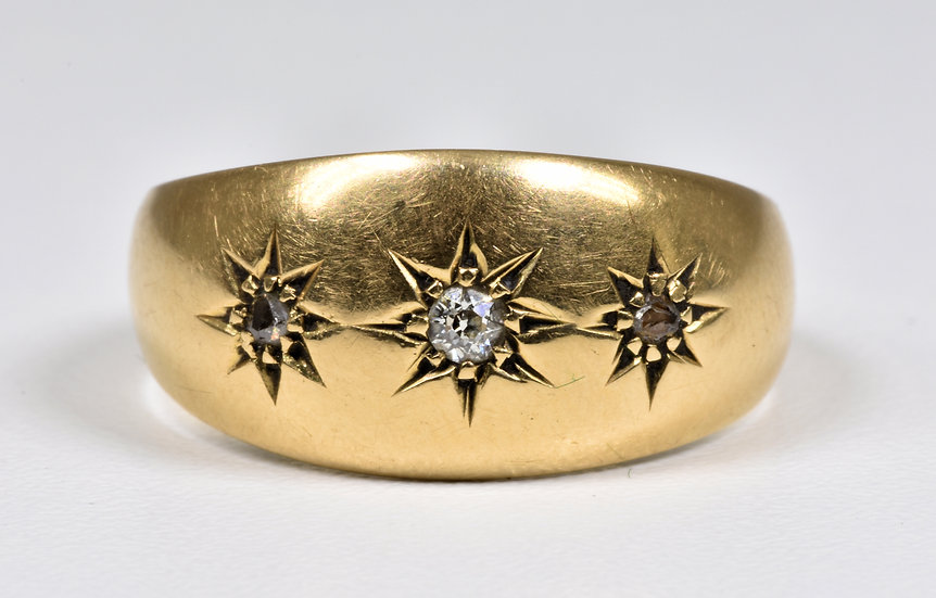 Antique Edwardian 18ct Gold Diamond Gypsy Ring, (Chester,1912)