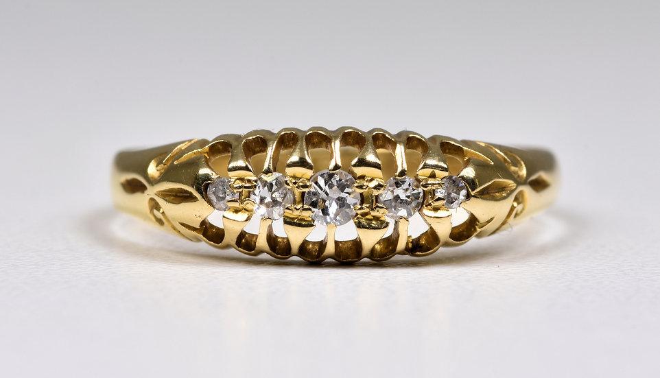 Antique George V 18ct Gold Old Cut Diamond Ring, (Birmingham, 1912)