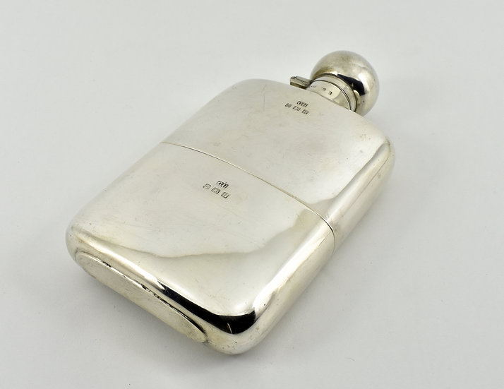 Large Antique English Solid Silver Hip Flask, (George Unite, 1919, 239g)