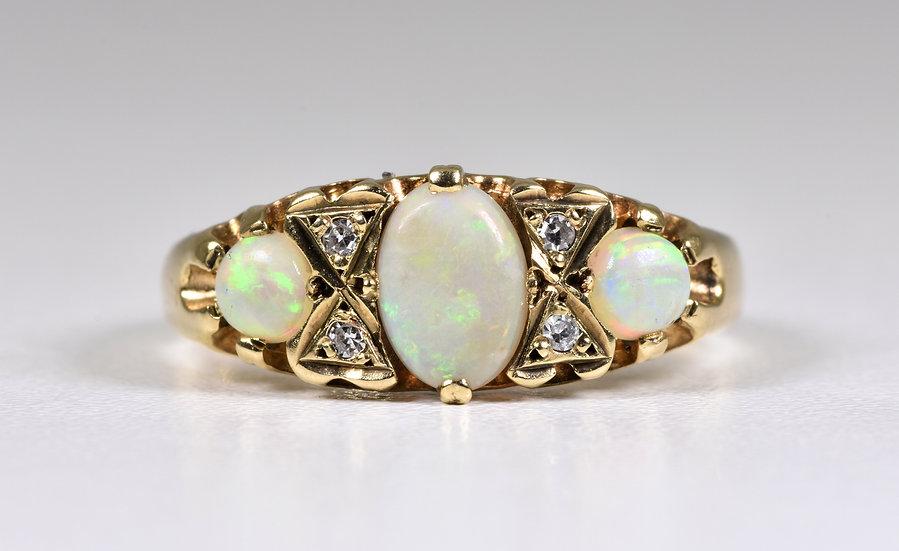 Vintage Edwardian Style 9ct Gold Fire Opal & Diamond Ring, 1970's