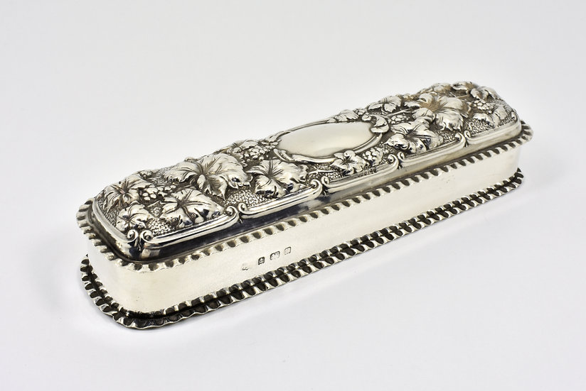 Antique English Edwardian Solid Silver Table Snuff Box (T H Hazlewood & Co 1902)