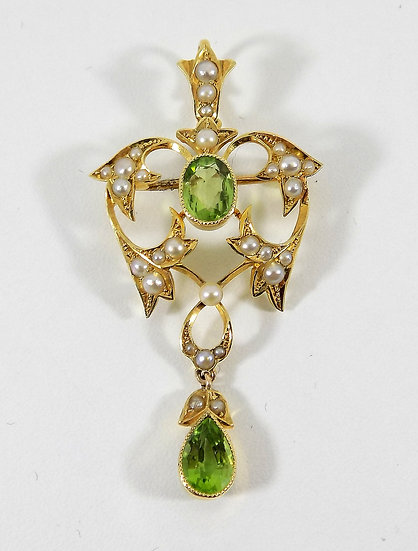 Antique Victorian 15ct Gold Peridot & Seed Pearl Hinged Pendant/Brooch, c1895