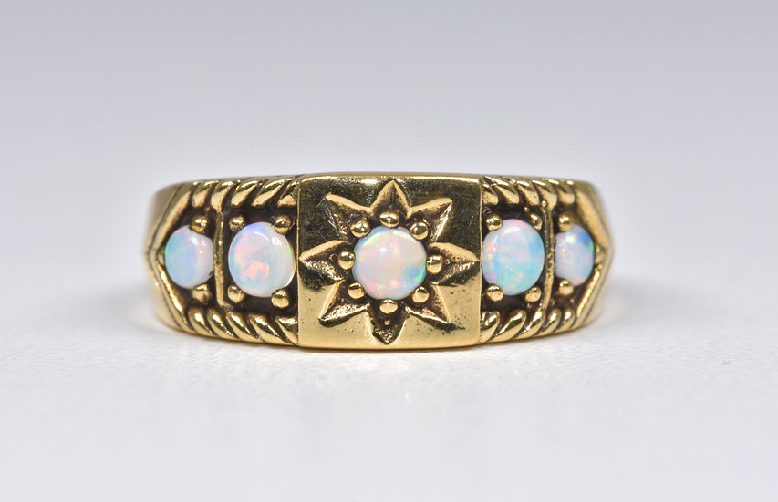 Vintage Edwardian Style 9ct Gold Fire Opal Gypsy Ring, 1970's