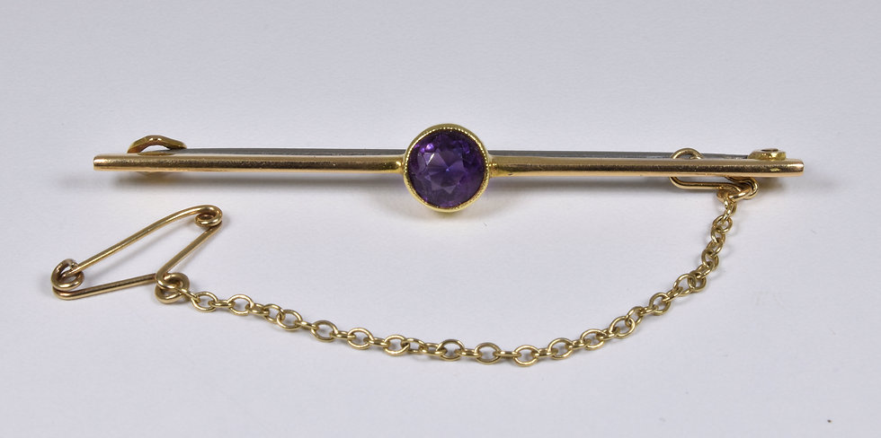 Antique Victorian 15ct Gold Amethyst Bar Brooch, c1880