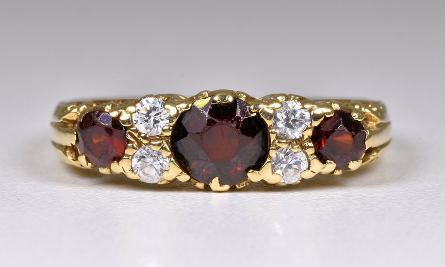 Vintage 9ct Gold Garnet & Glass Ring, (Sheffield,1992)