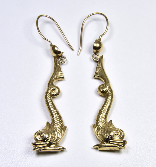 Antique Victorian 9ct Gold Dolphin Drop Earrings, C1880