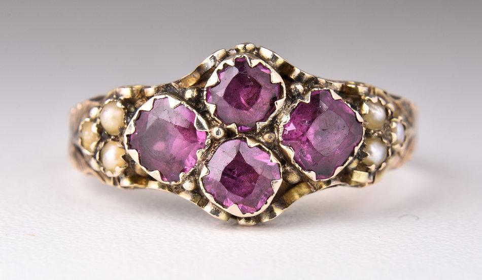 Antique Victorian 9ct Gold Almandine Garnet & Seed Pearl Ring, With Original Box