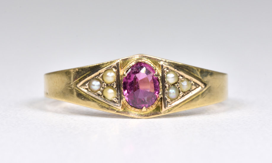 Antique Art Deco 10ct Gold Almandine Garnet & seed Pearl Ring, c1925