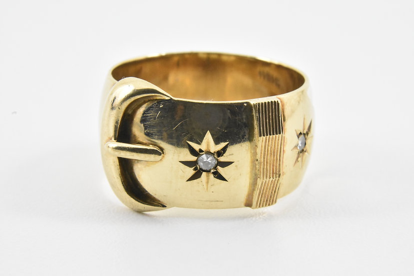 Vintage 9ct Gold & Diamond Mens Buckle Ring (Slade & Wolfe, 1978)