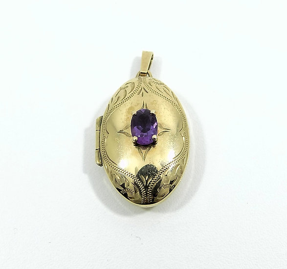 Vintage Ladies 9ct Gold & Amethyst Locket, 1995